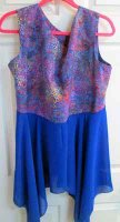 OVERLAY: colorful batik top with blue hankie skirt