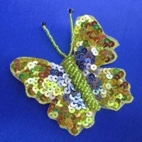 SEQUIN BEADED APPLIQUE: Gold & Blue Butterfly