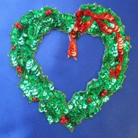 SEQUIN BEADED APPLIQUE: Christmas wreath [large]