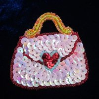 SEQUIN BEADED APPLIQUE: Pink Purse