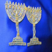 SEQUIN BEADED APPLIQUE: Menorah