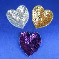 SEQUIN BEADED APPLIQUE: 2 inch Heart