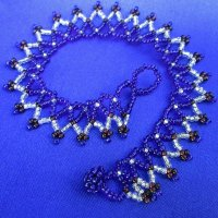Anklet: Weave - All beads indigo, brown & silver