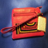 CHANGE PURSE: Leather, Bright Pink