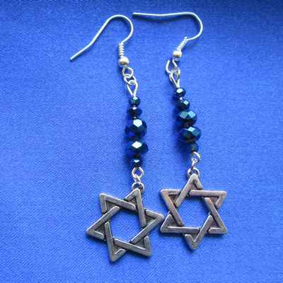 EARRINGS: Davidic Star, all blue beads - Click Image to Close